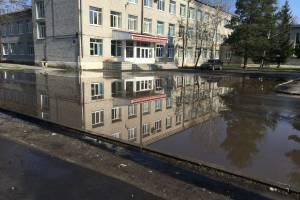 В Брянске студенты медицинского колледжа устроили «заплыв» в луже
