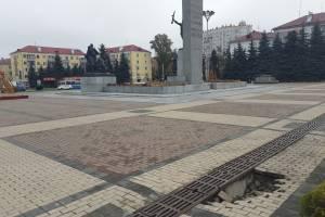 В Брянске образовался провал на площади Партизан