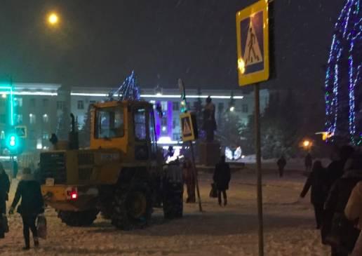 В Брянске при уборке снега пострадал дорожный знак