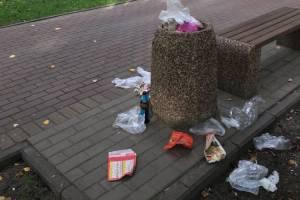 В Брянске новые урны в сквере Энергетиков переполнились мусором