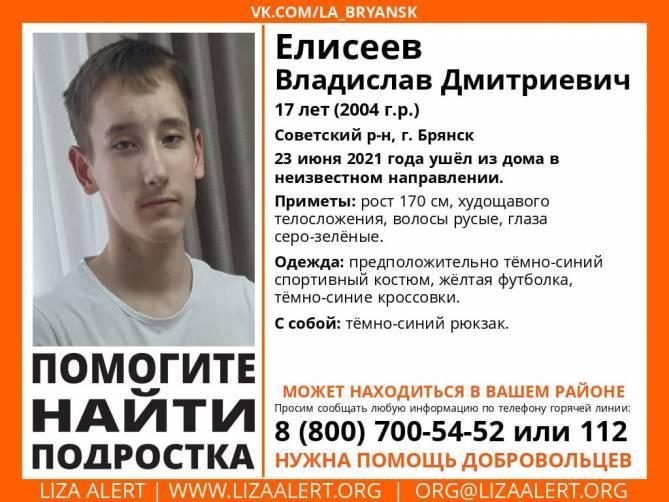 В Брянске нашли живым 17-летнего Владислава Елисеева