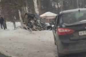 В Брянском районе автомобиль расплющило при ударе о дерево