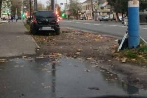 В Брянске охранник треноги припарковался на газоне