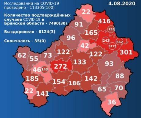 Карта распространения COVID-19 в Брянской области на 4 августа
