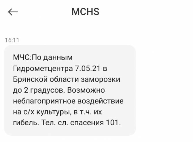 МЧС предупредило брянцев об аномальном холоде через SMS