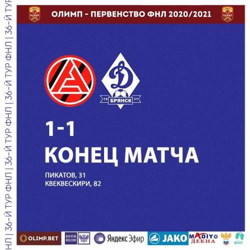 Брянское «Динамо» сыграло вничью с тольяттинским «Акроном»