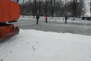 В Новозыбкове начали заливку ледового катка