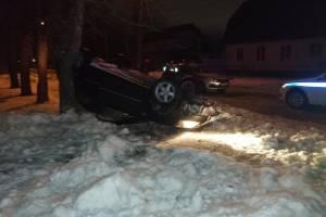 Погоня полиции за нарушителем в Брянске закончилась опрокидыванием автомобиля