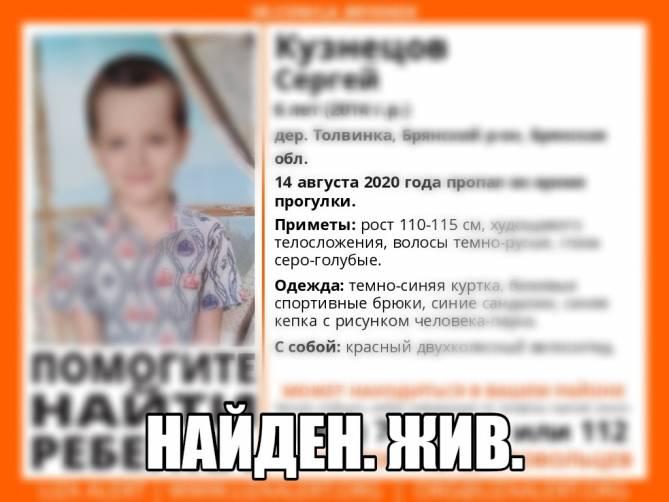 В Брянской области нашли живым пропавшего 6-летнего мальчика