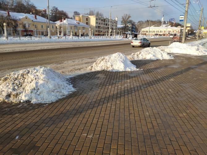 В Брянске на Набережной коммунальщики устроили снежные преграды пассажирам