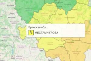 На Брянщине из-за грозы объявили желтый уровень погодной опасности
