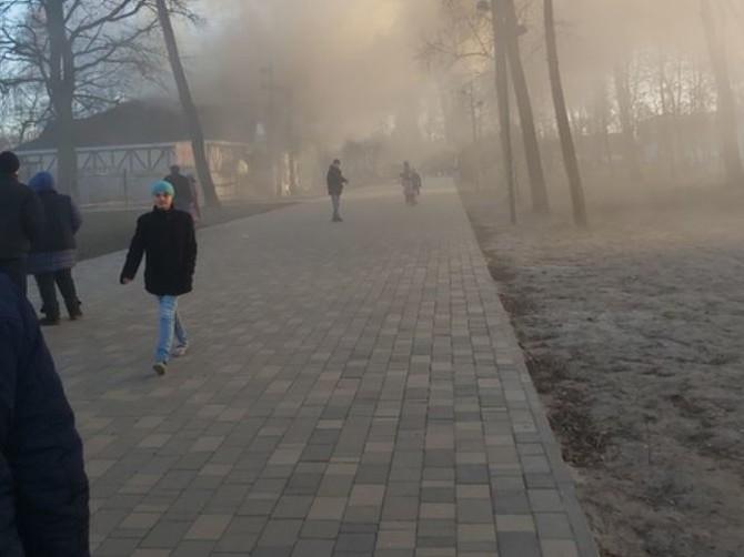 Дым от пожара затянул Майский парк Брянска