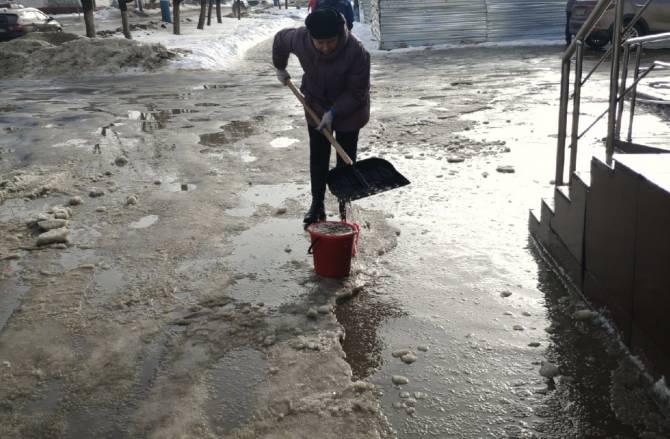 В Брянске женщина с лопатой попыталась осушить огромную лужу