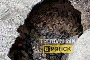 В Брянске заметили провал асфальта на улице Горького