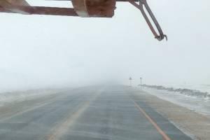 Из-за снежной бури видимость на брянской трассе резко снизилась