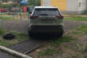 В Брянске автохам с номером 888 захватил детскую площадку