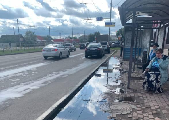 В Брянске затопило остановку «Фабрика Десна»
