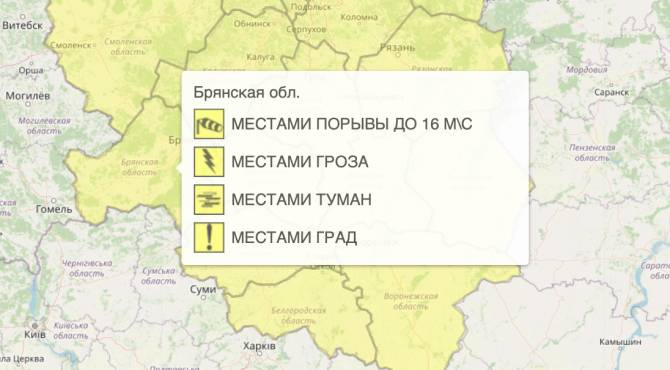 На Брянщине из-за града объявили жёлтый уровень опасности