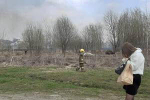 В Брянске на тушение поля возле «Аэропарка» выехали спасатели