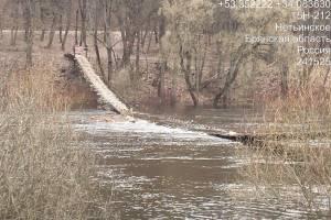 В Сельцо запретили ходить по утонувшему подвесному мосту