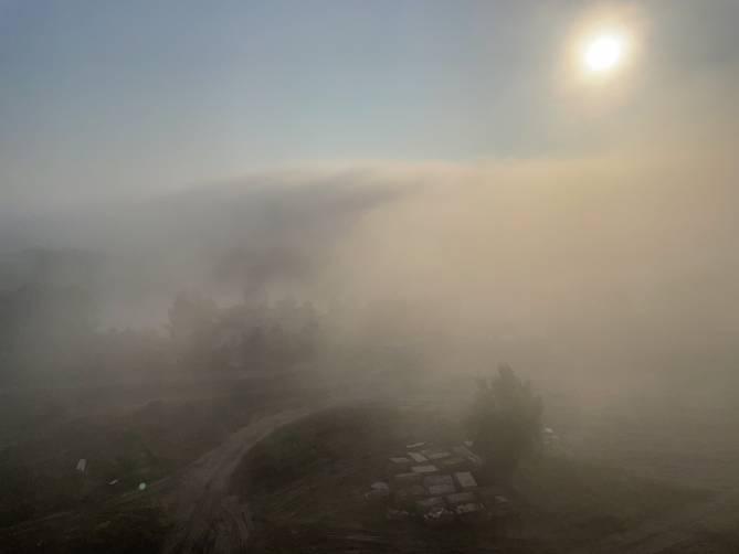 Рано утром на Брянск опустился сильный туман