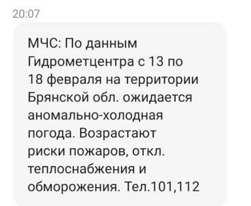 МЧС предупредило брянцев об усилении морозов через SMS